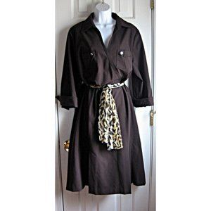 Talbots Dark Brown Safari Dress 18